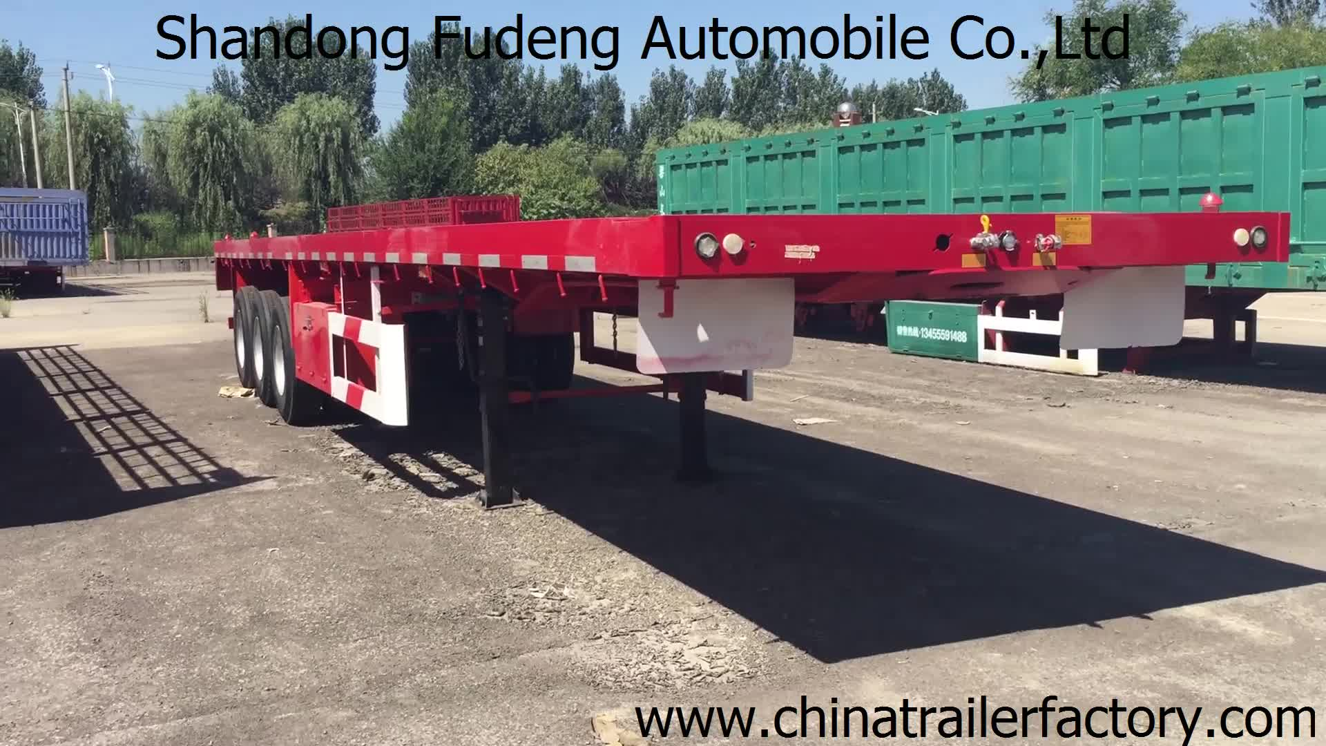 Goedkope 3 axle 40ft of 20ft gebruikt trailer container flatbed truck trailer en semi trailer container voor koop