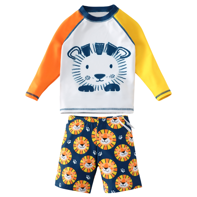 儿童泳衣男童分体长袖防晒泳裤套装中大童宝宝可爱卡通游泳衣