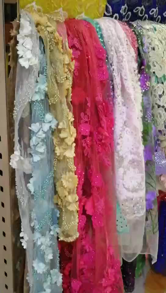 Women Dress Fabrics Cheap Price African Tulle Lace Fabric 2017