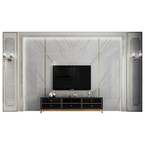 轻奢风电视背景墙瓷砖客厅微晶石