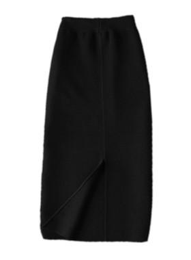 2021秋冬新款黑色羊毛针织一步裙包臀半身裙中长款配卫衣毛线长裙