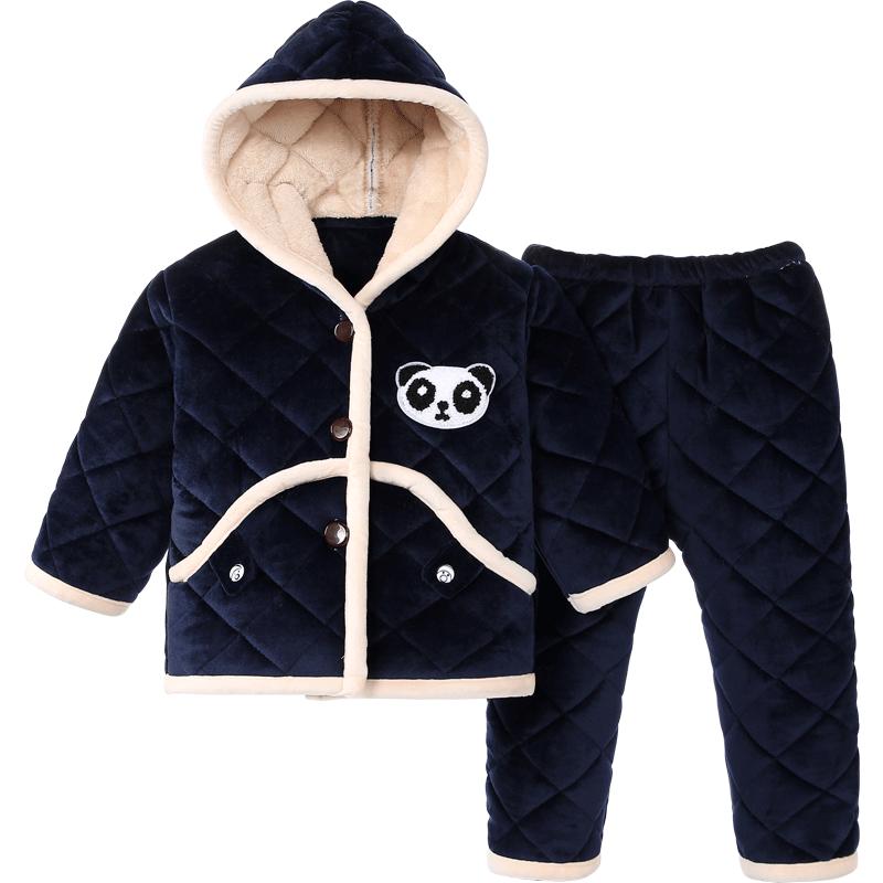 秋冬季儿童睡衣珊瑚绒小孩宝宝三层加厚款家居服男童女孩夹棉棉袄
