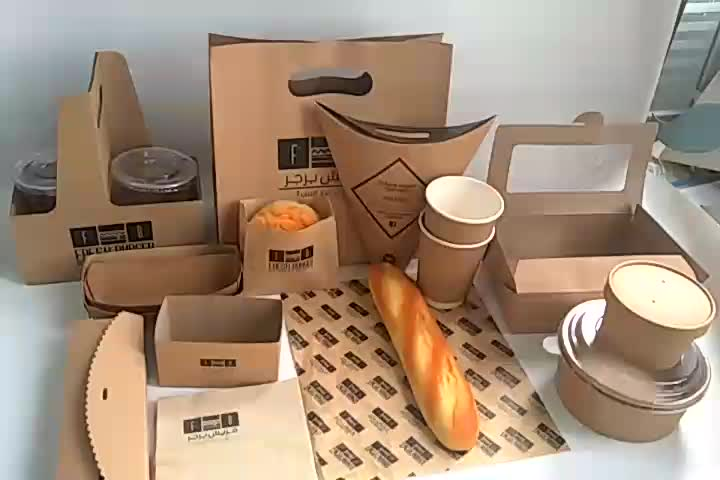 restaurant use customized fast food packaging take out fast food box, disposable food containers