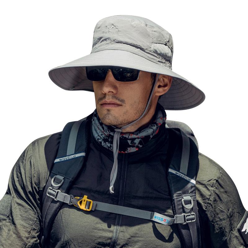 钓鱼帽子男士大檐帽防晒帽防紫外线渔夫帽户外太阳帽男夏季遮阳帽