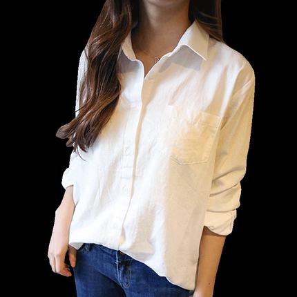 棉麻白色女2019新款宽松韩版夏衬衫