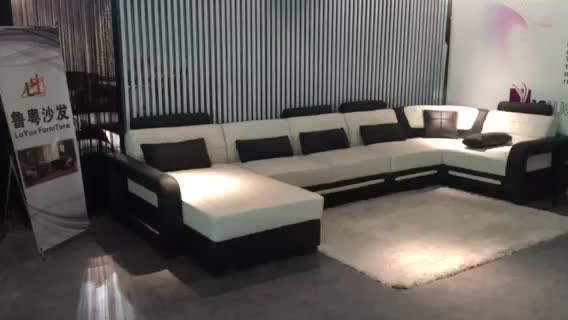 Top quality royal design sectional corner genuine leather - Best quality living room furniture ...