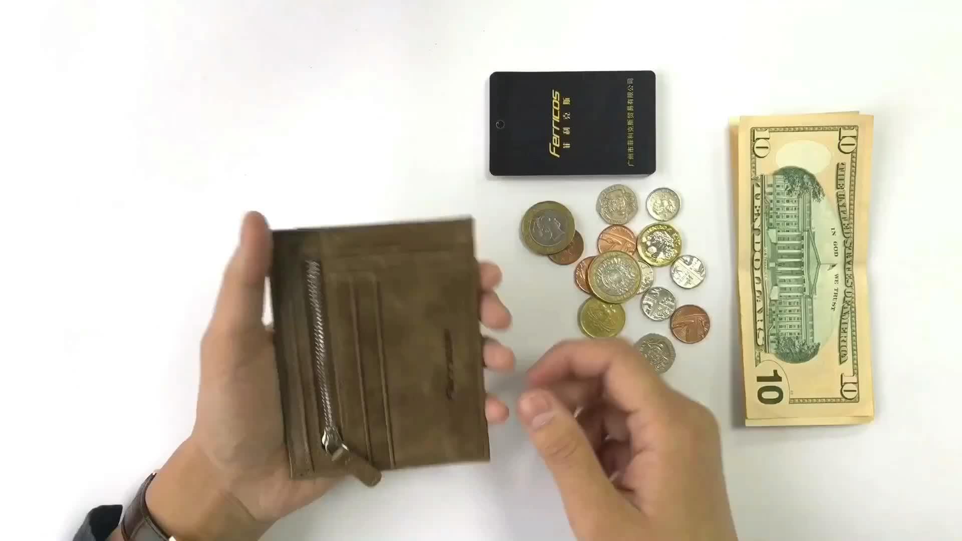Minimalist Slim Rfid Blocking Leather Coin Purse Card Holder Wallet Men Women