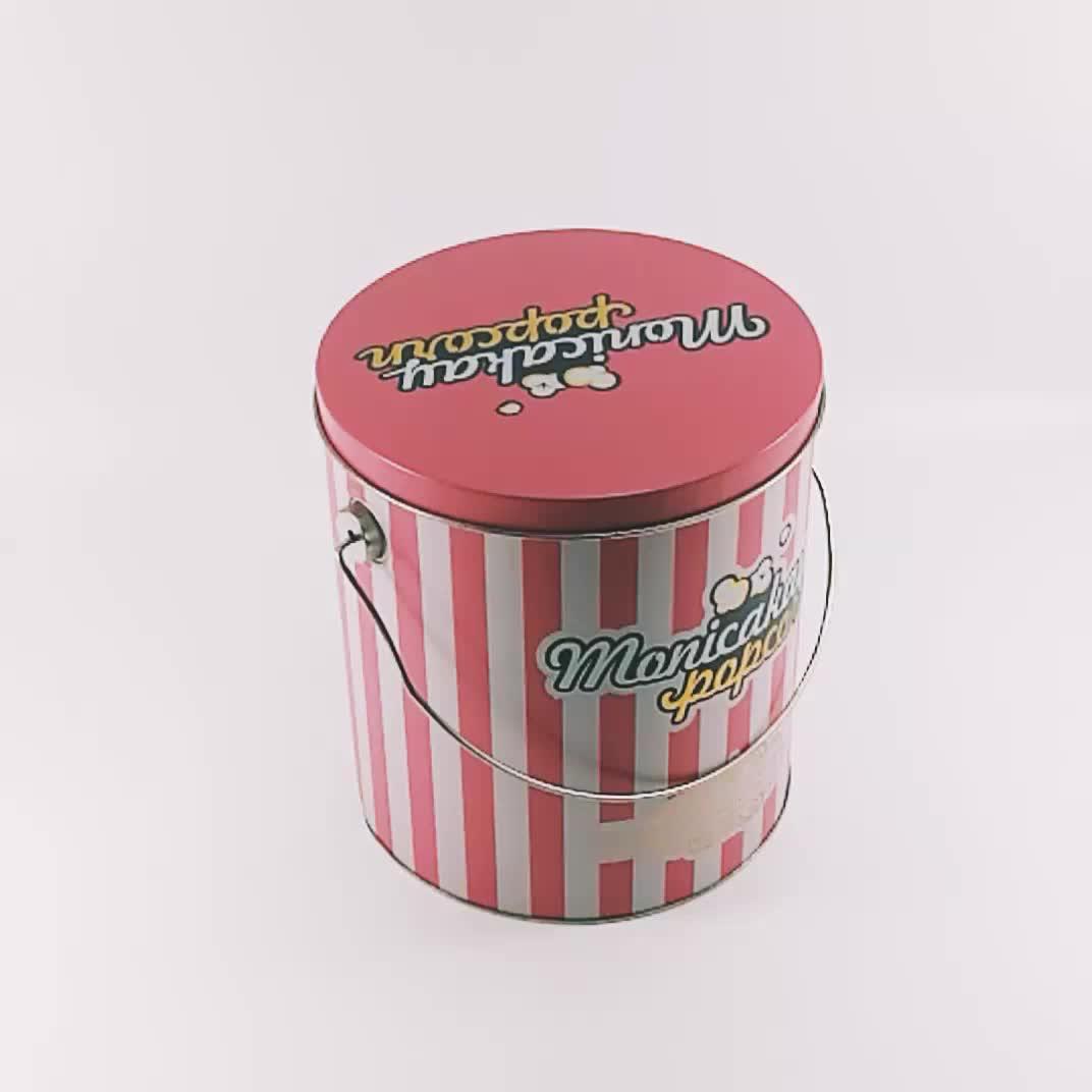 USA Custom Food Grade Design Round Metal Popcorn Can Bulk Tin Container Metal Popcorn Tin Bucket Metal Popcorn Tin Box