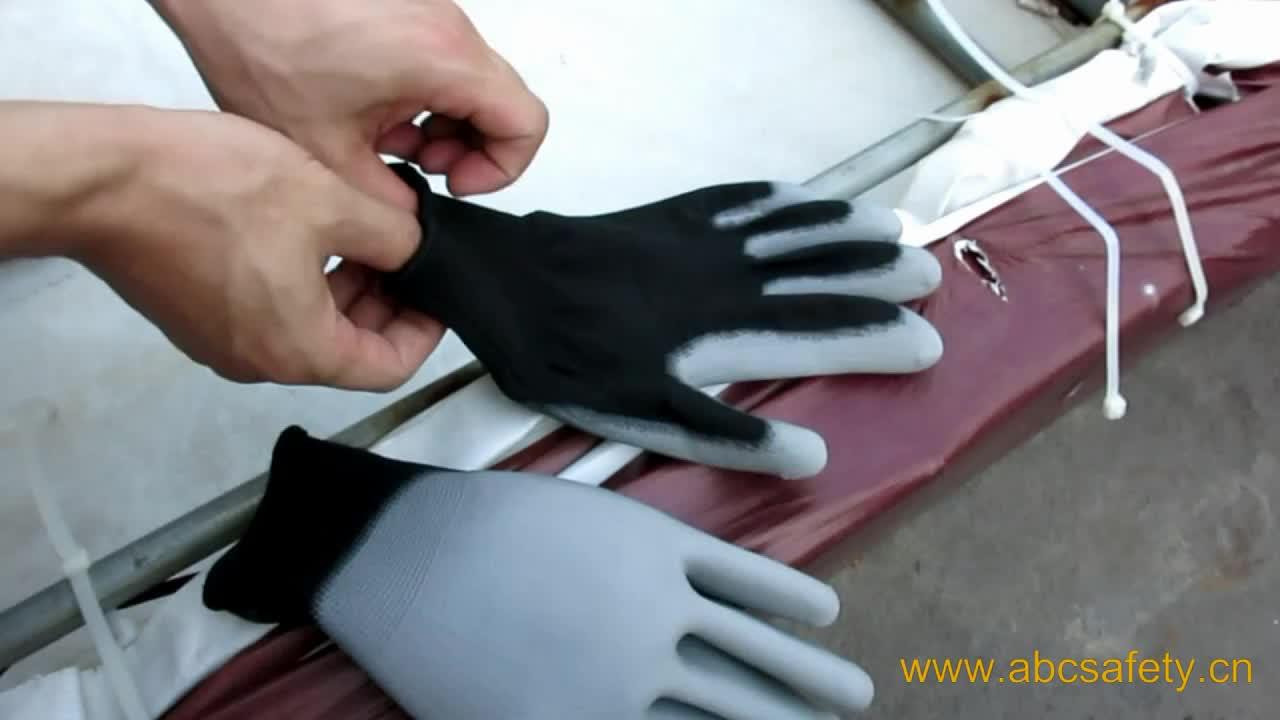 SEGURANÇA ABC SEGURANÇA 13 gauge preto PU revestido luva de segurança de trabalho