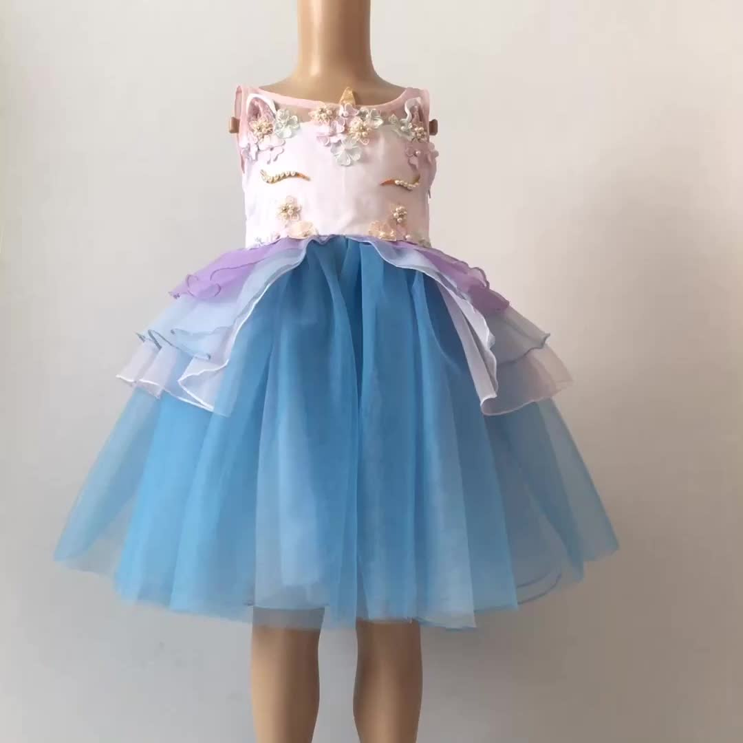New Year Spring Bright Color Princess Kids Girls Unicorn Party Dress ...