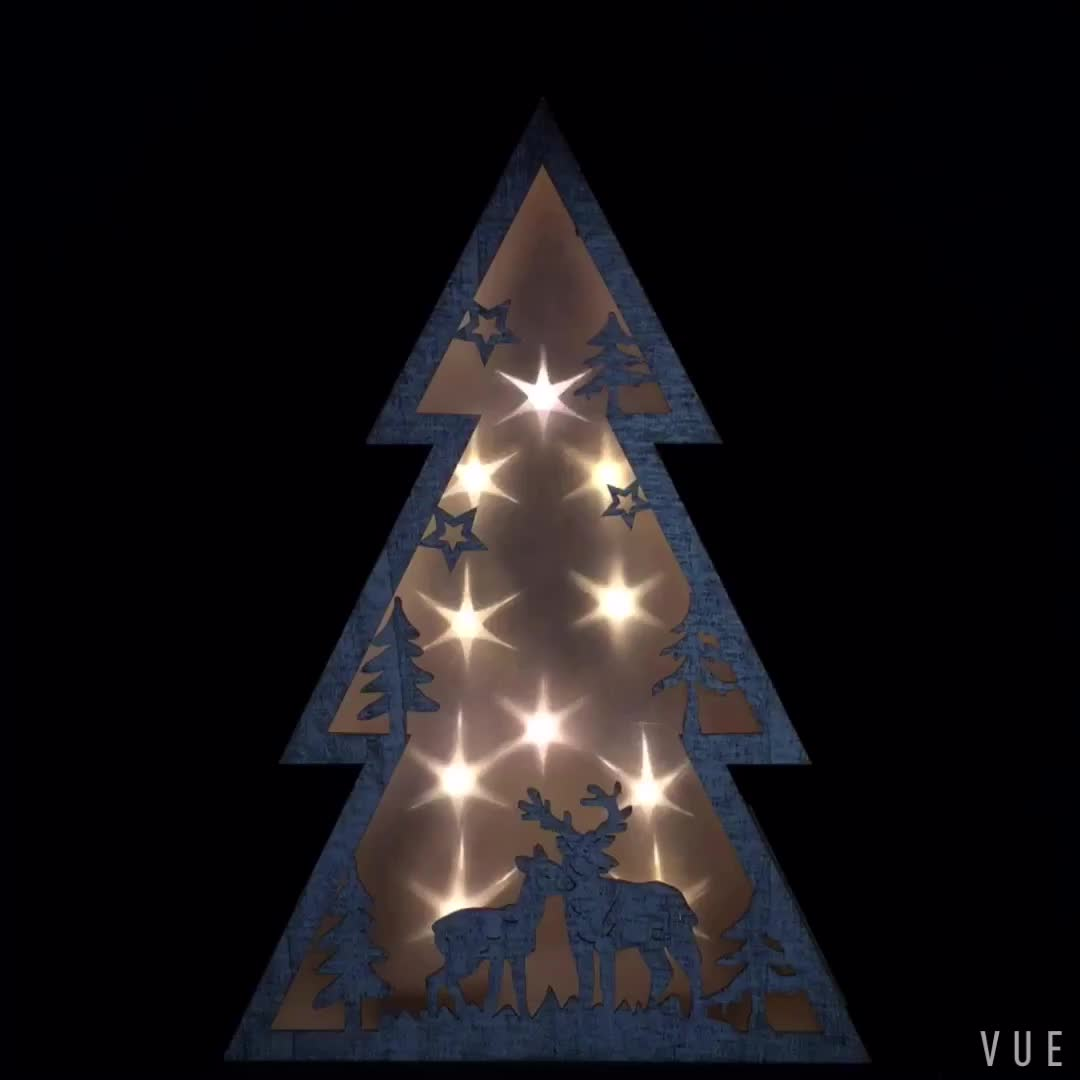 2018 new wooden led christmas tree light for home decoration xmas gift wooden christmas tree - Wooden Led Christmas Decoration