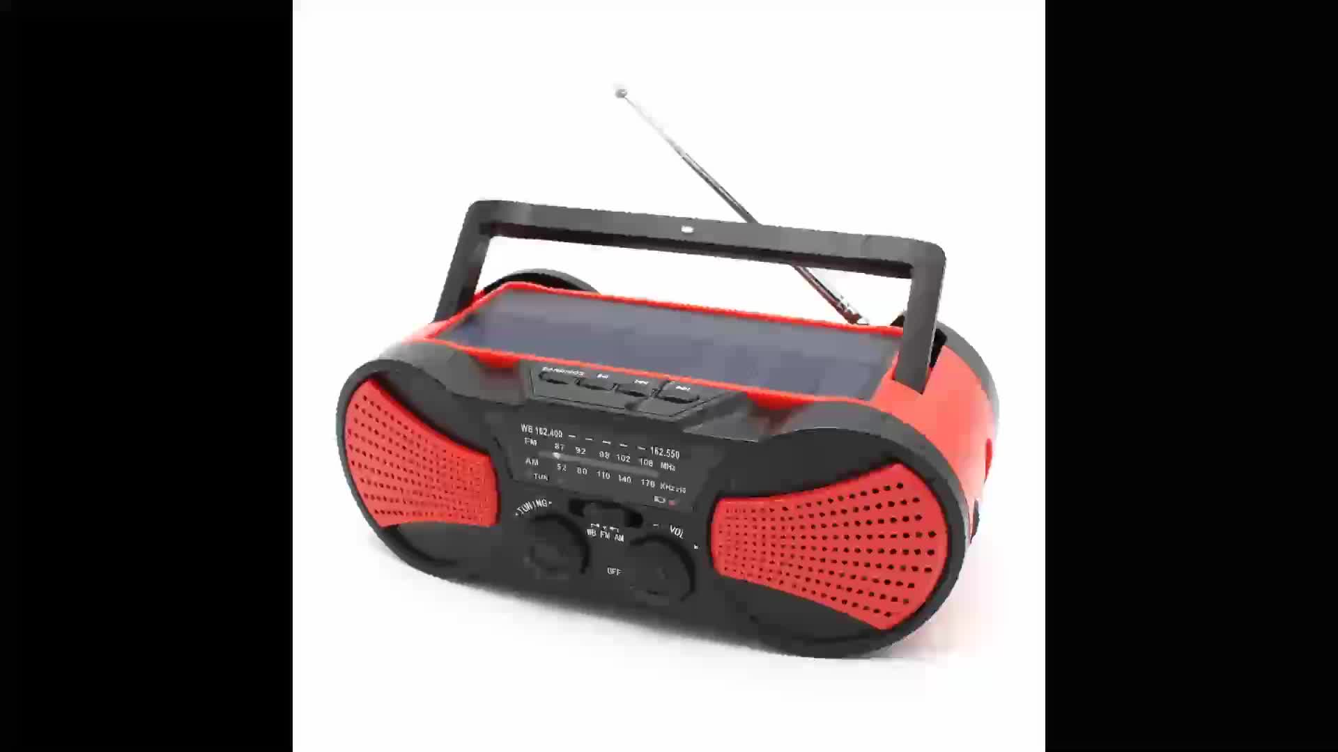 Solar crank emergency radio with LED reading lamp and 2 built-in speakers
