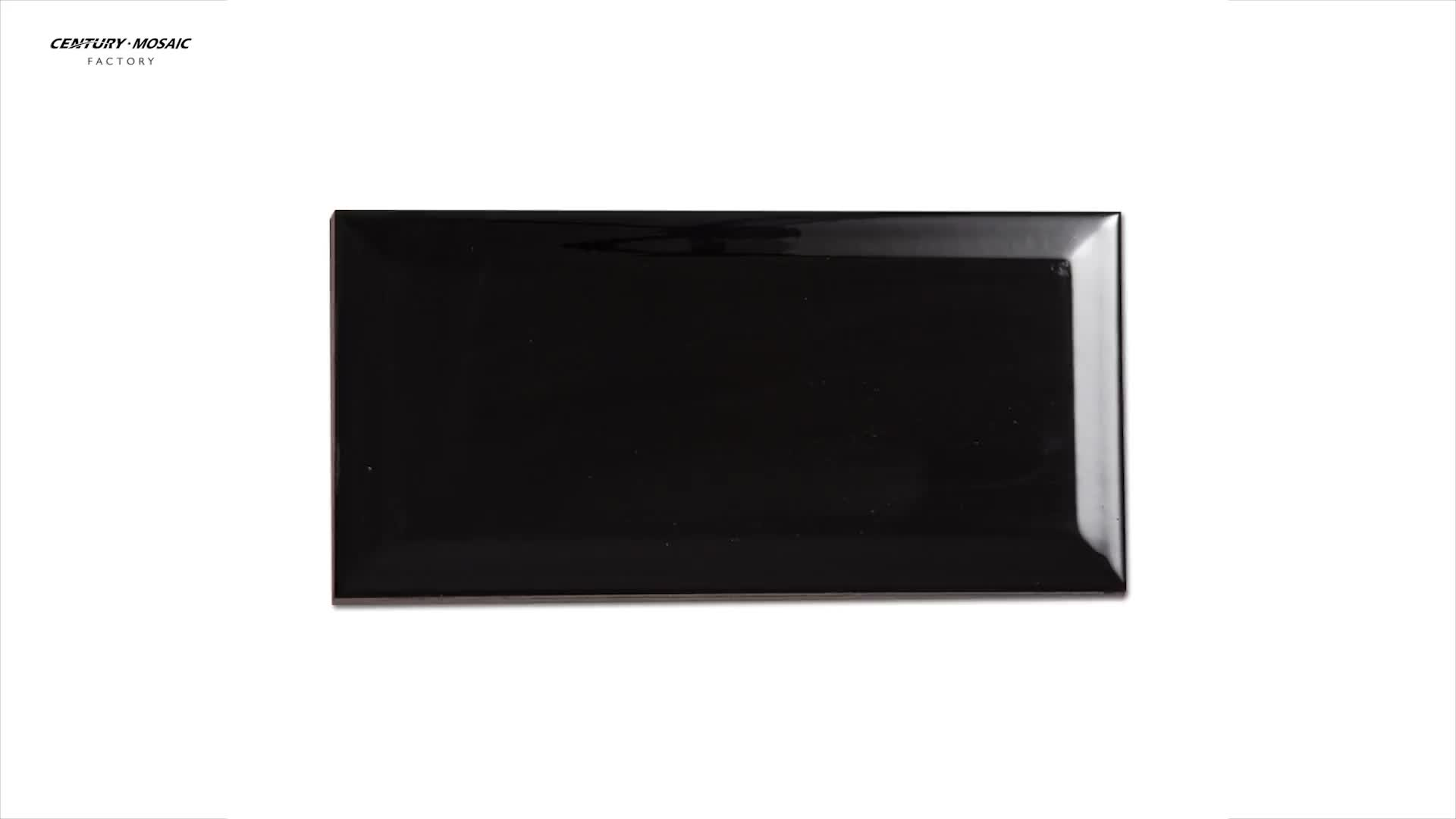 Hot Selling Black Ceramic Tile 4x8 Kitchen Tile With Beveled Edge For Home Decoration