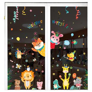 卡通櫥窗玻璃門貼窗貼兒童房裝飾文化牆貼幼兒園環境環創材料貼紙