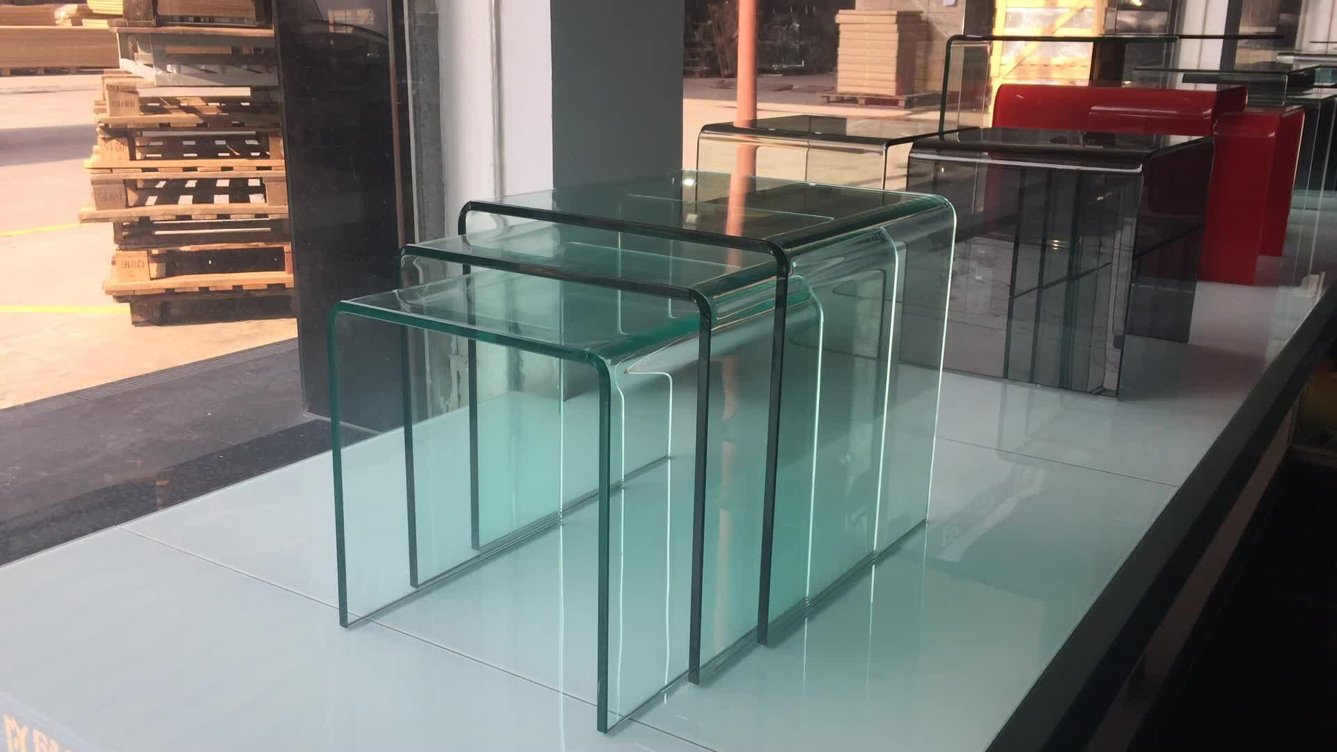 Modern Nest Glass Side Table Living Room Furniture