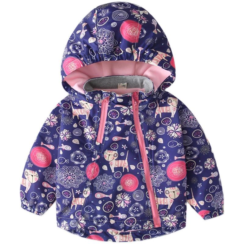 2021春秋新款女童冲锋衣宝宝摇粒绒外套加绒防风保暖中小童洋气潮