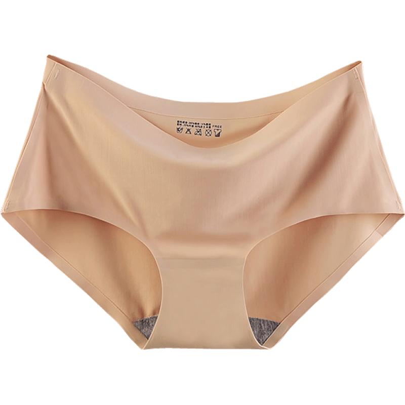 无痕内裤女冰丝一片式中腰女士性感夏季薄款透气纯棉裆少女三角裤