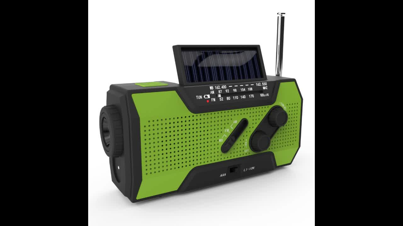 Amazon best selling solar crank noaa emergency weather radio with LED flashlight