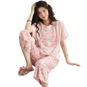 夏季宽松短袖七分裤甜美纯棉睡衣