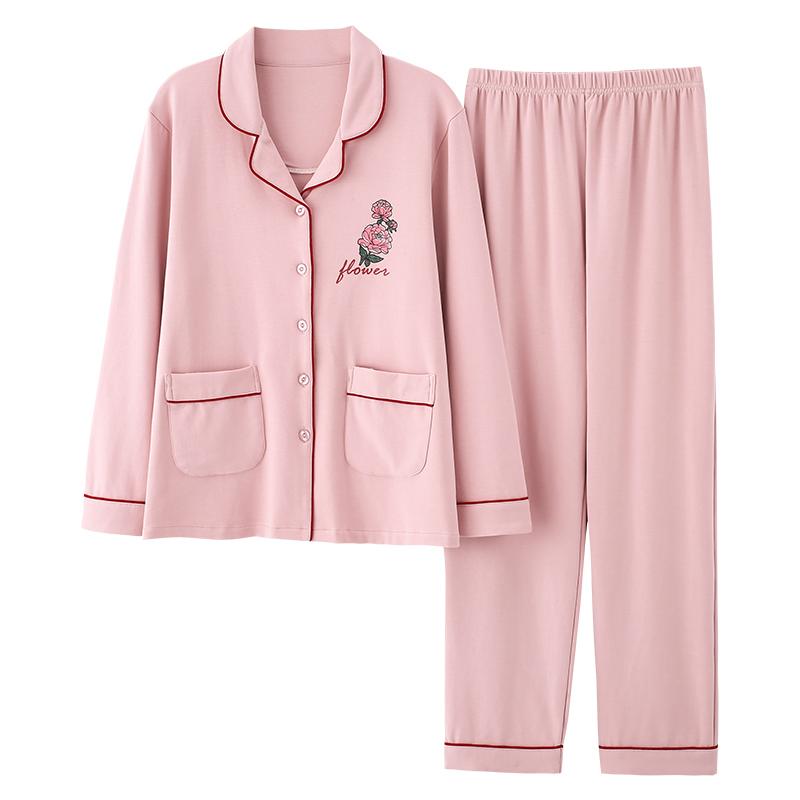猫人睡衣女春秋纯棉长袖开衫2021年新款春夏全棉家居服套装秋冬季