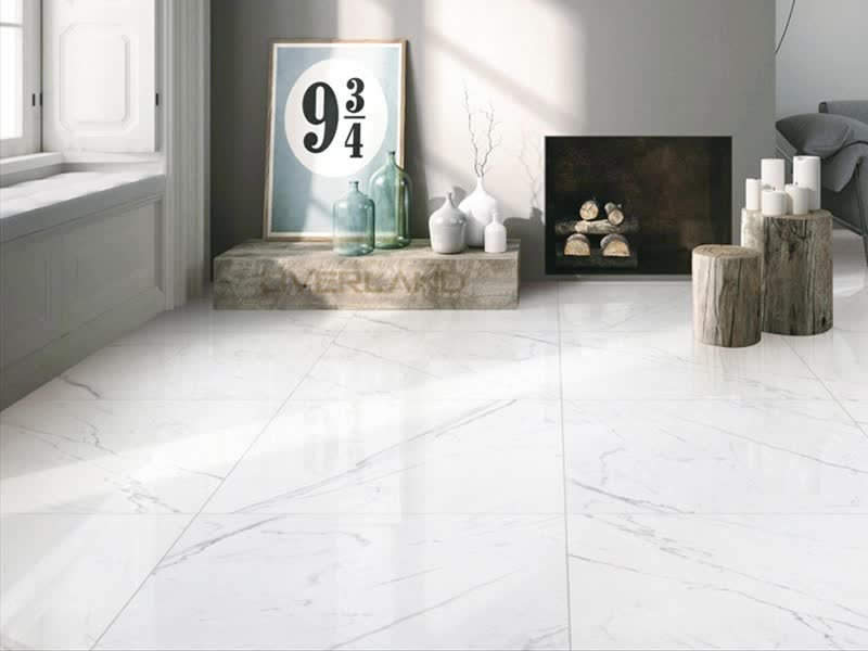 Non Slip Super White Carrara Crystal Porcelain Ceramic Floor Tile