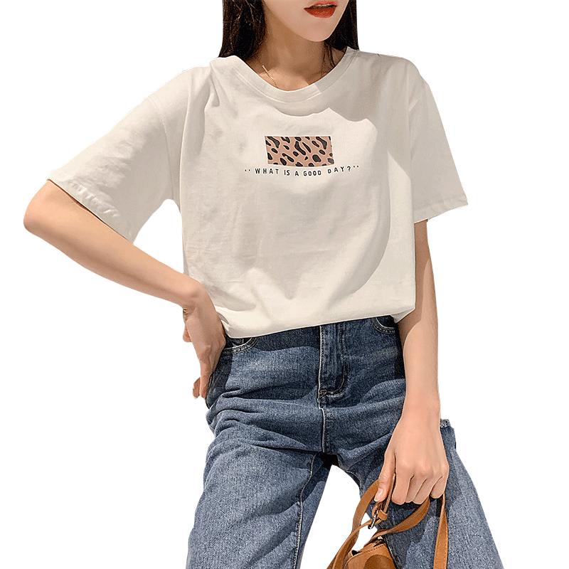 超火cec纯棉网红短袖T恤女装2019新款潮ins白色上衣服夏宽松体恤
