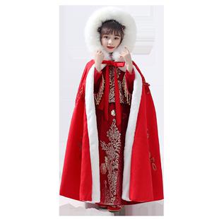 漢服斗篷女童秋冬外出防風外套抖音洋氣超仙古裝中國風兒童披風