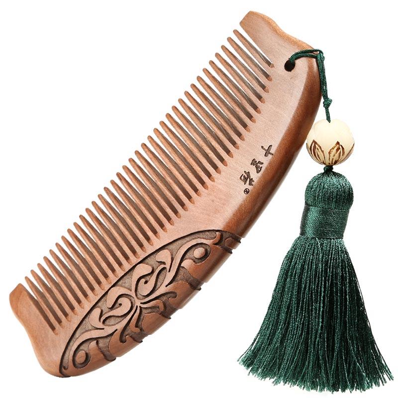 正品桃木梳天然木梳卷发梳随身家用刻字宽齿女教师节礼物牛角梳子