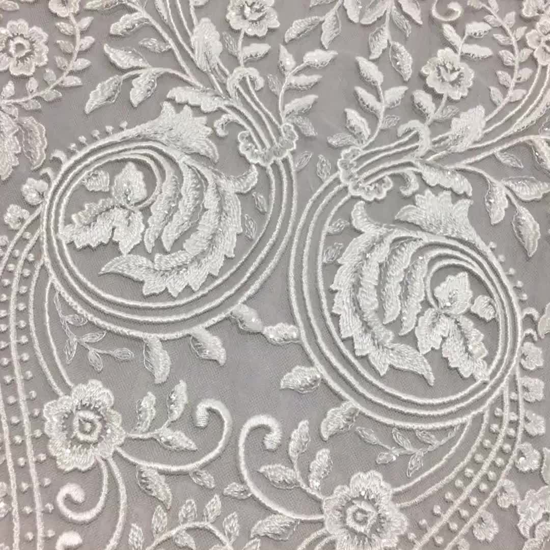Custom Design Beautiful Switzerland Bridal Cord Lace Fabric