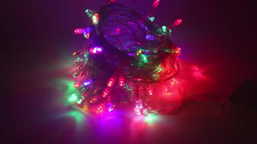 วันหยุดตกแต่ง10เมตร100ลูกRGB LEDเชือกงานแต่งงานนางฟ้าไฟคริสต์มาส