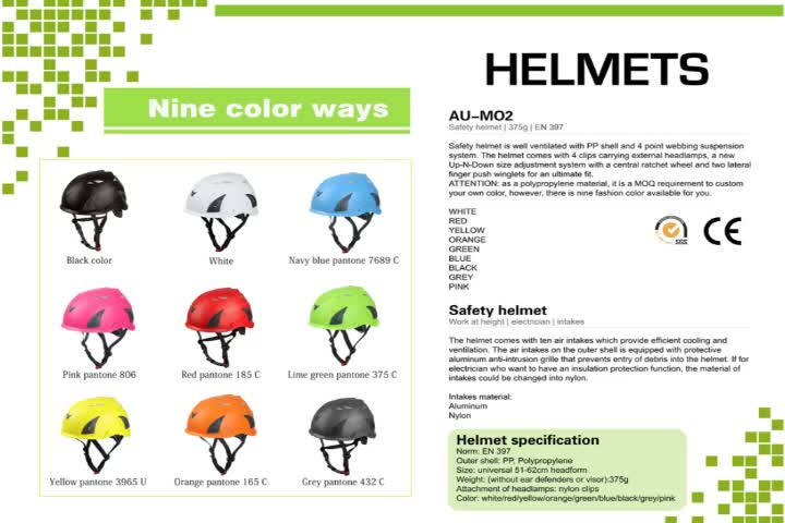 EN12492 certificated Outdoor activity rock climbing helmet