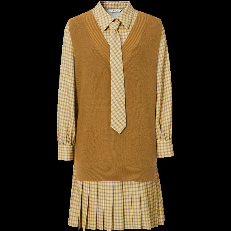 李沁同款诗凡黎连衣裙女2020新款秋装长袖格纹设计感针织套装裙子