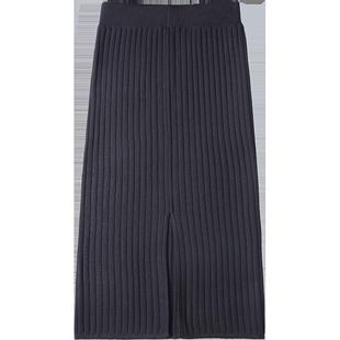 针织秋冬季毛线百褶中长款配半身裙
