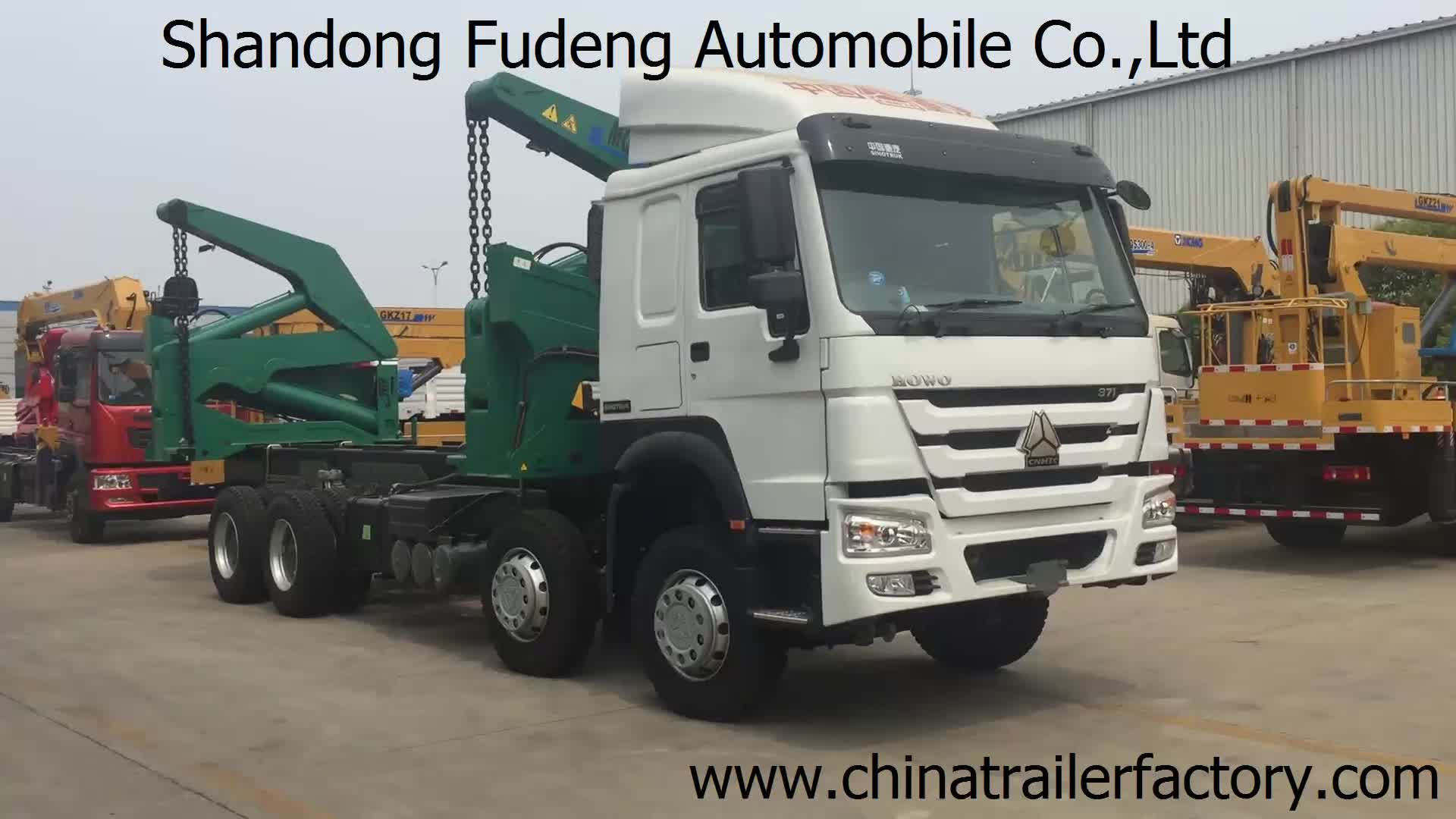 Fudeng crane 20ft 40ft 45ft container side loader aanhanger