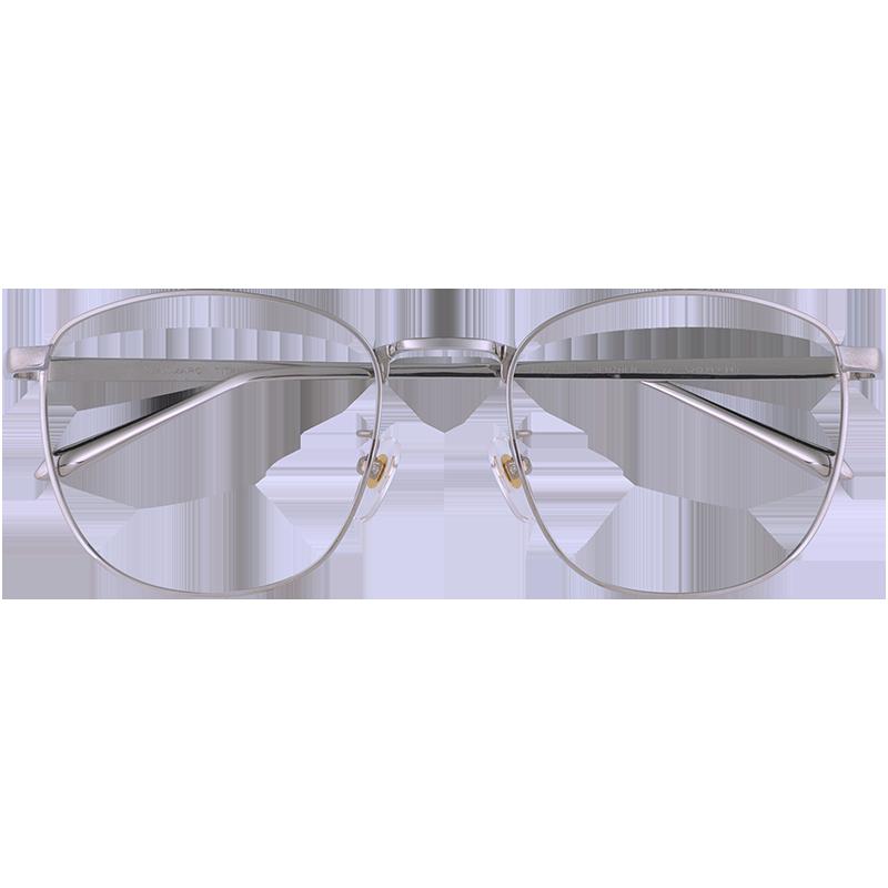 潮男银色眼镜框纯钛防辐射抗蓝光电脑护目平光镜女可配近视眼镜