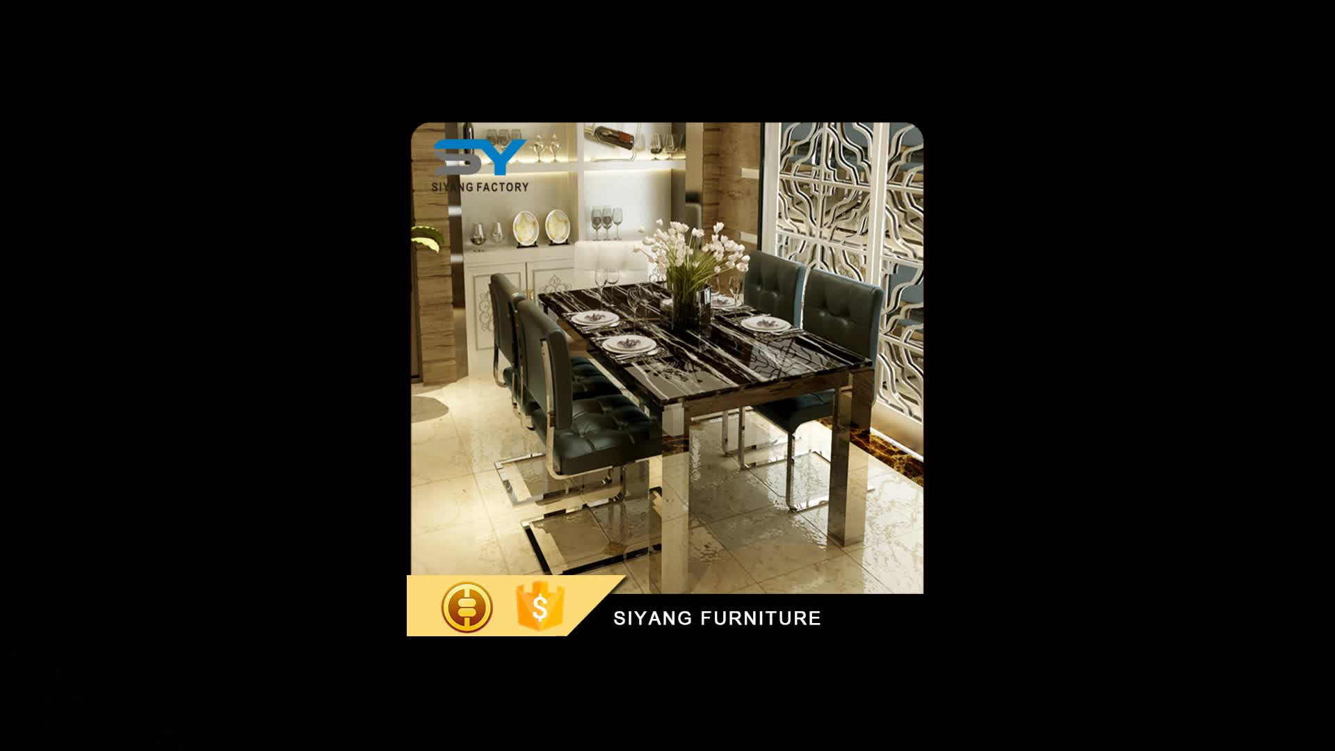 Hotel furniture dining table set stainless steel dining table with 6 chairs CT031