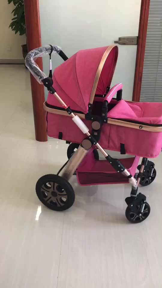 EN1888 giấy chứng nhận Nhôm Khung Hợp Kim bánh xe lớn xe đẩy em bé luxury3 trong 1 với con tàu sân bay ghế xe cho 0- 36 tháng bé