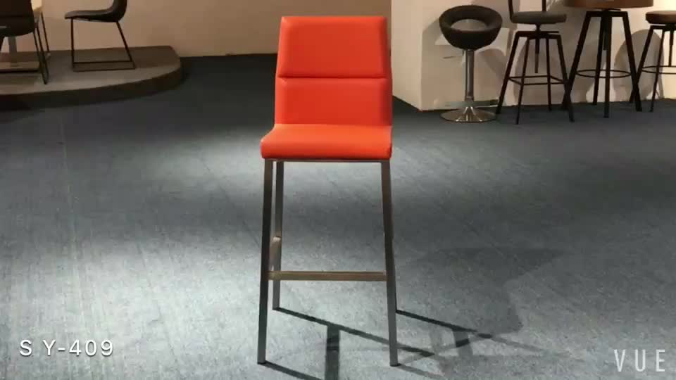 New arrival orange replacement seat fixed wrought iron swivel bar stool