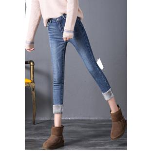 加绒加厚修身显瘦秋冬款韩版牛仔裤