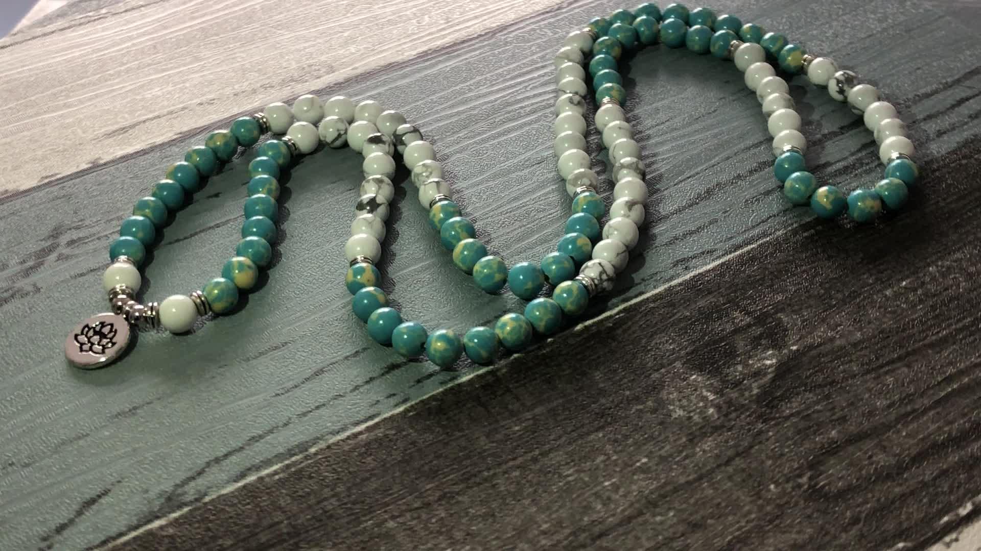 SN1546 Lotus Bracelet or Necklace High Quality Yogo Jewelry 108 Black Link Jade Stretchy Bracelet Healing Meditation Om Bracelet