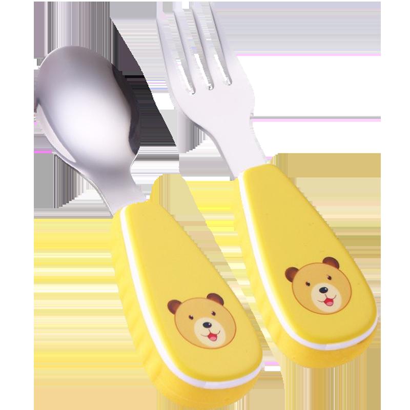 宝宝勺子学吃饭304不锈钢婴幼儿童训练勺叉勺子叉子套装儿童餐具