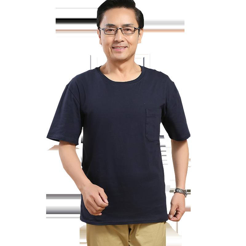 男装夏季中年短袖男士t恤纯棉爸爸半袖体恤衫宽松中老年人上衣服