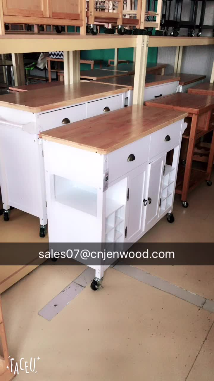 American style bamboo top foldable white kitchen island for Kitchen trolley design