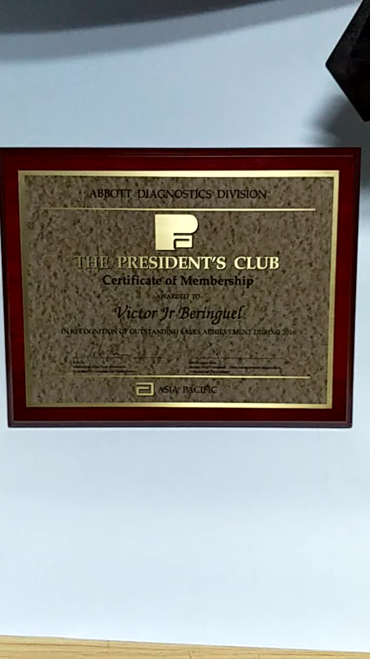 the company customed wooden plaque award trophy covered metal sheet