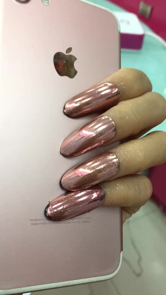 New Fashion Rose Gold Chrome Nail Mirror Effect Rose Gold Nail ...