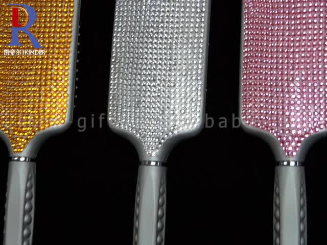 Custom Sparkle Diamond Beads Hand Made Cheap Magic Paddle Brush, Hair Hand Brushes