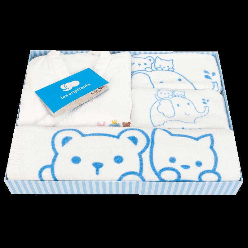 丽婴房婴儿礼盒初生婴儿礼盒新生儿纯棉浴巾4件装四季款新款