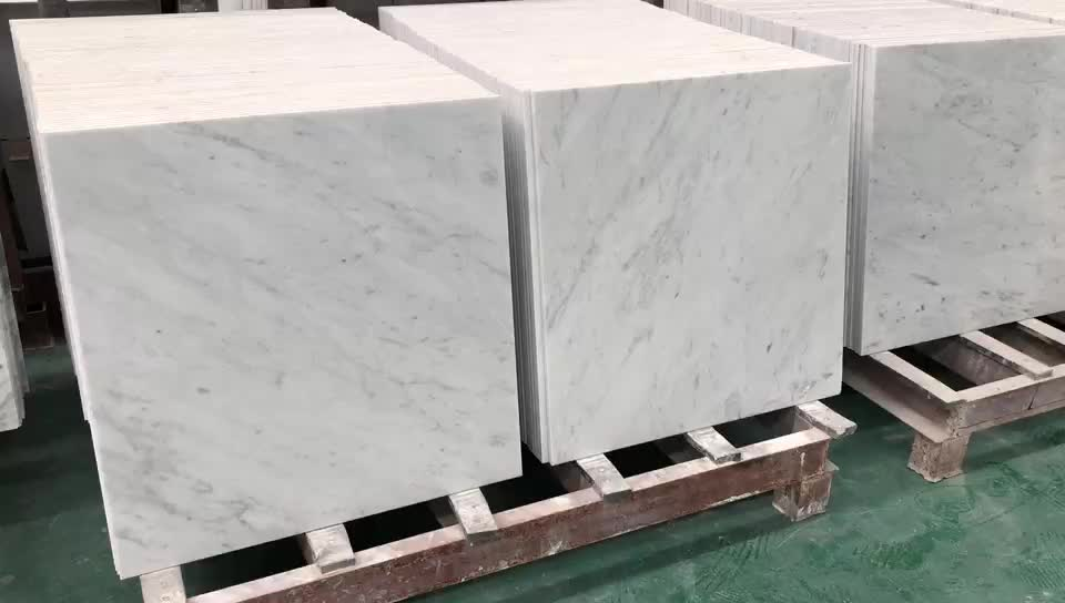 24x24 italian carrera white marble tiles on sale