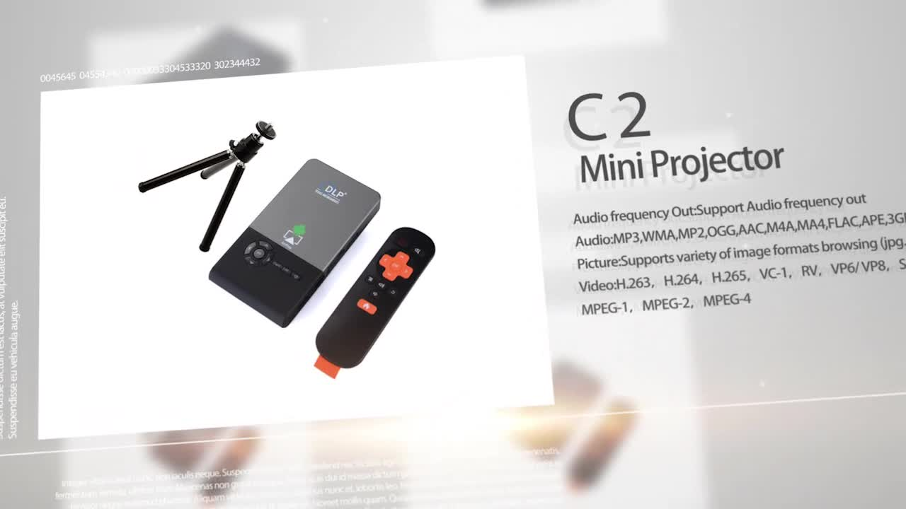 hot sale DLP C2 Mini Projector with Android 4.4 os 1g8g rock chip 3128 mic projector