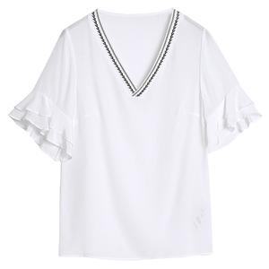 白色女短袖v领洋气刺绣设计感衬衫